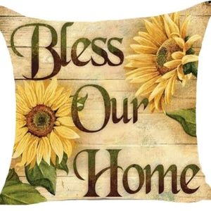 Pillow Cover- New- Christian Bless Our Home Faith